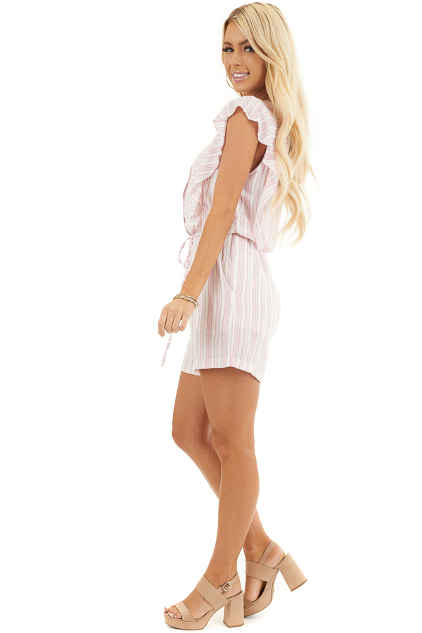 Baby Pink and Ivory Striped Romper with Ruffle Sleeves side full body
