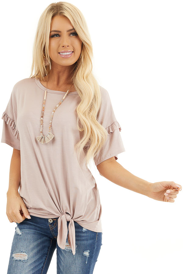 Dusty Rose Short Sleeve Knit Top with Front Knot front close up