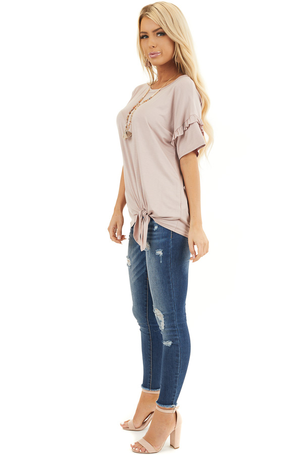 Dusty Rose Short Sleeve Knit Top with Front Knot side full body