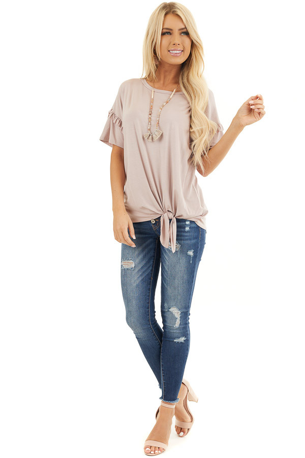 Dusty Rose Short Sleeve Knit Top with Front Knot front full body