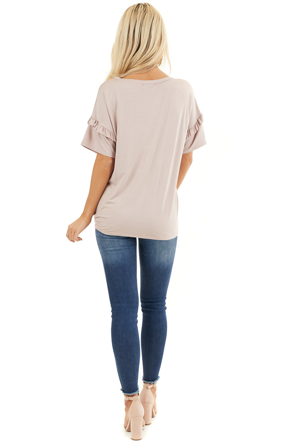 Dusty Rose Short Sleeve Knit Top with Front Knot back full body