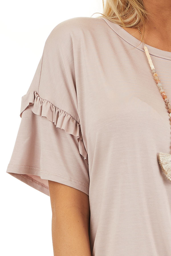 Dusty Rose Short Sleeve Knit Top with Front Knot detail