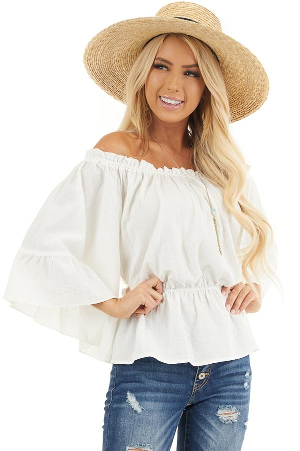 Pearl White Off Shoulder Woven Textured Peasant Top front close up