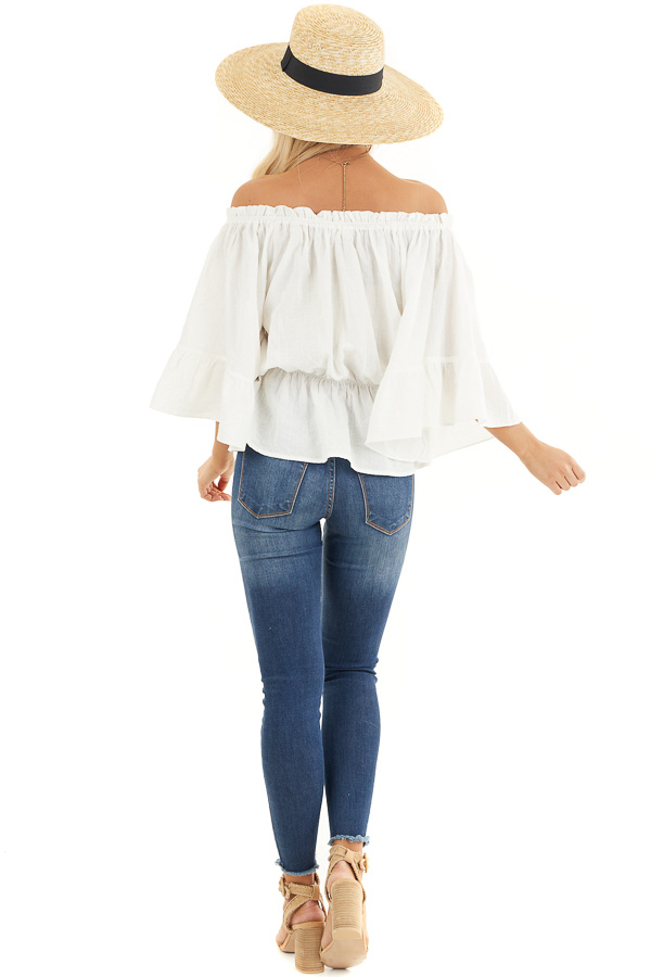 Pearl White Off Shoulder Woven Textured Peasant Top back full body