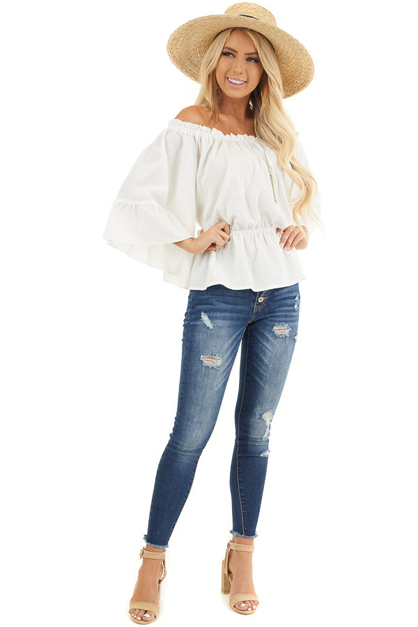 Pearl White Off Shoulder Woven Textured Peasant Top front full body