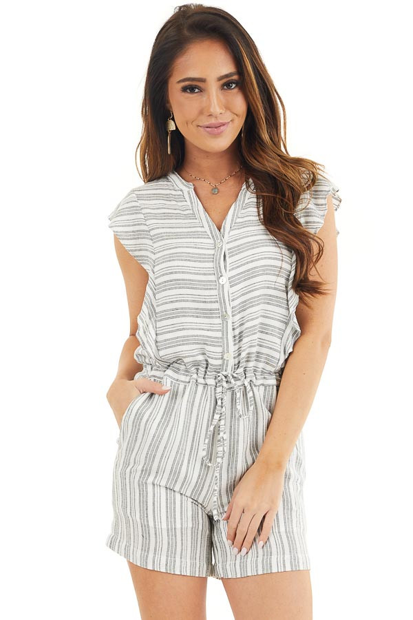 Charcoal and Ivory Striped Romper with Ruffle Sleeves front close up