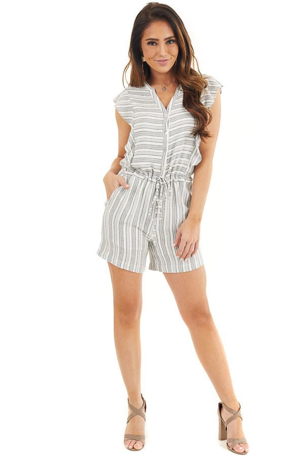 Charcoal and Ivory Striped Romper with Ruffle Sleeves front full body