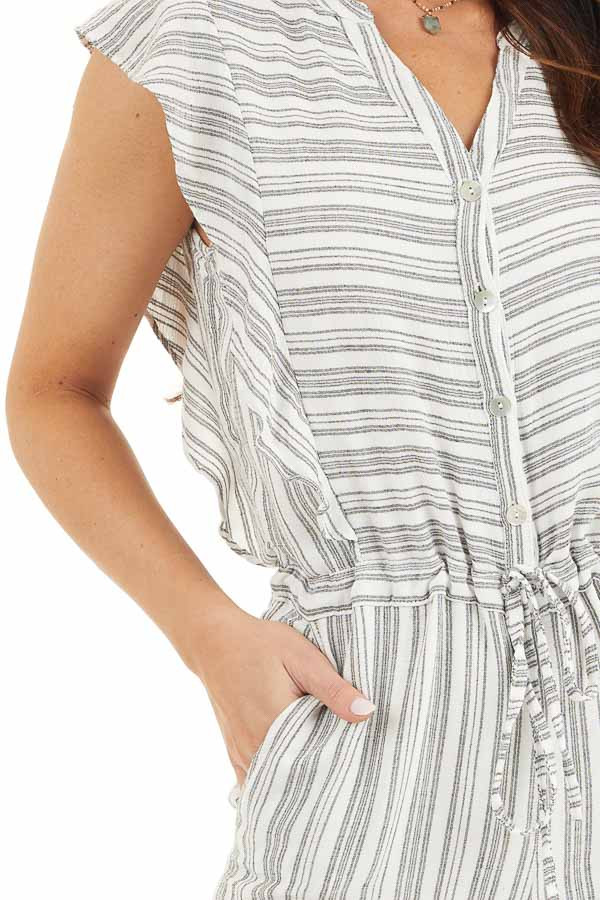 Charcoal and Ivory Striped Romper with Ruffle Sleeves detail