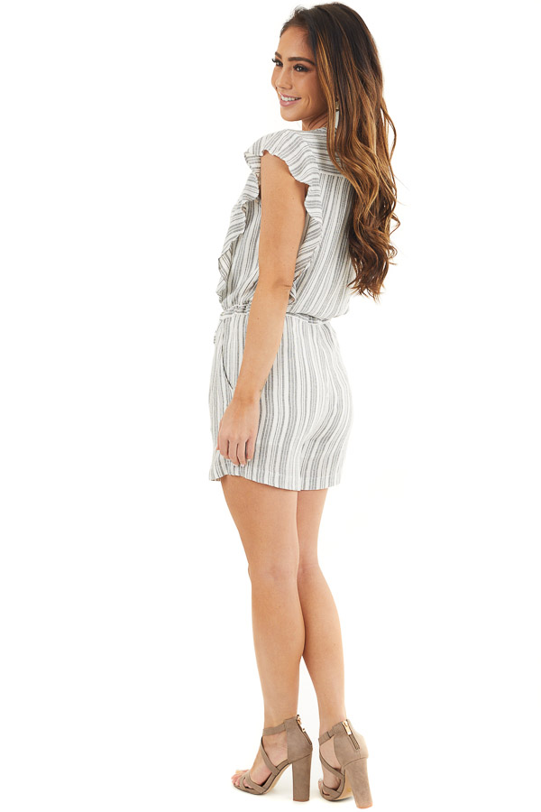 Charcoal and Ivory Striped Romper with Ruffle Sleeves side full body