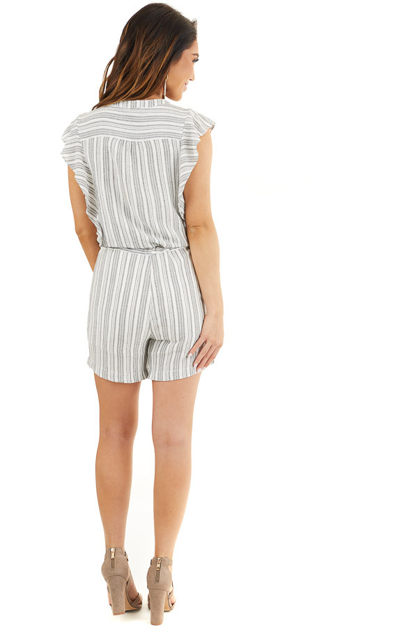 Charcoal and Ivory Striped Romper with Ruffle Sleeves back full body