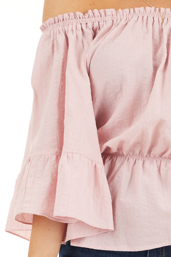 Dusty Blush Off Shoulder Woven Textured Peasant Top detail