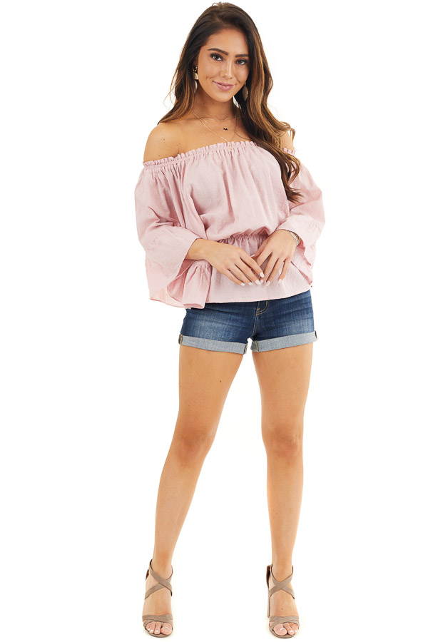 Dusty Blush Off Shoulder Woven Textured Peasant Top front full body
