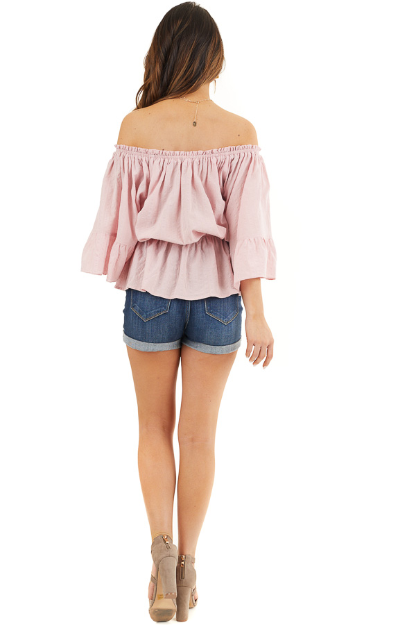Dusty Blush Off Shoulder Woven Textured Peasant Top back full body
