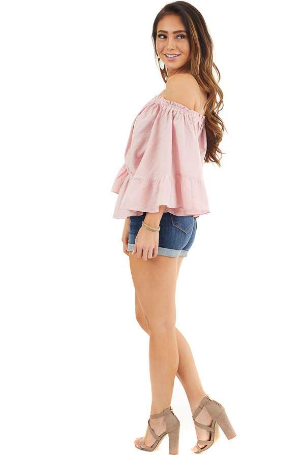Dusty Blush Off Shoulder Woven Textured Peasant Top side full body