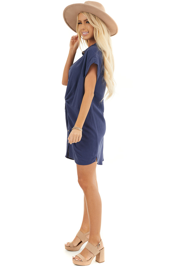 Navy Collared Button Up Short Dress with Twisted Waistline side full body