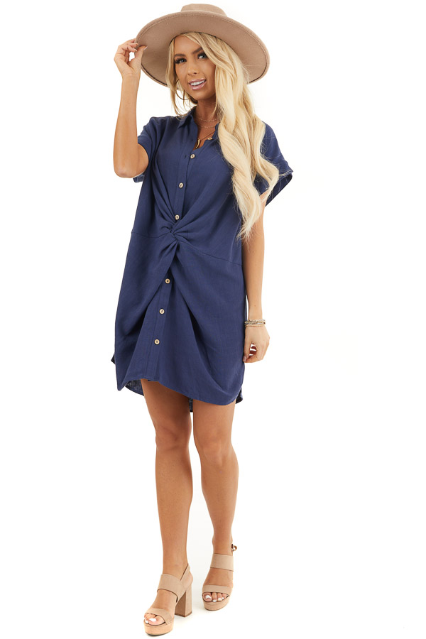 Navy Collared Button Up Short Dress with Twisted Waistline front full body