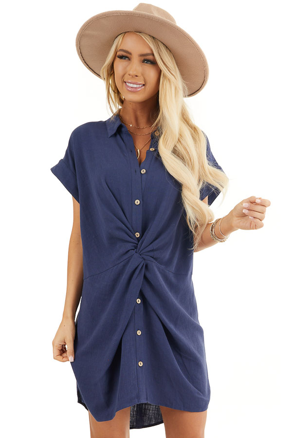 Navy Collared Button Up Short Dress with Twisted Waistline front close up