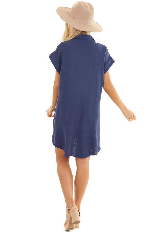 Navy Collared Button Up Short Dress with Twisted Waistline back full body
