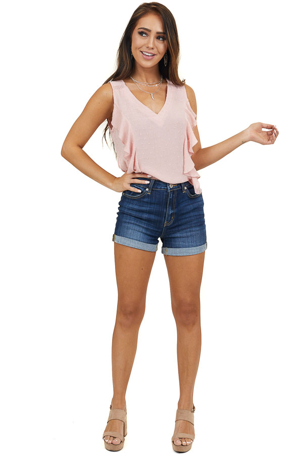 Baby Pink V Neck Swiss Dot Tank Top with Ruffle Details