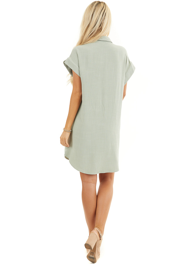 Sage Twisted Waist Button Front Short Dress with Collar back full body