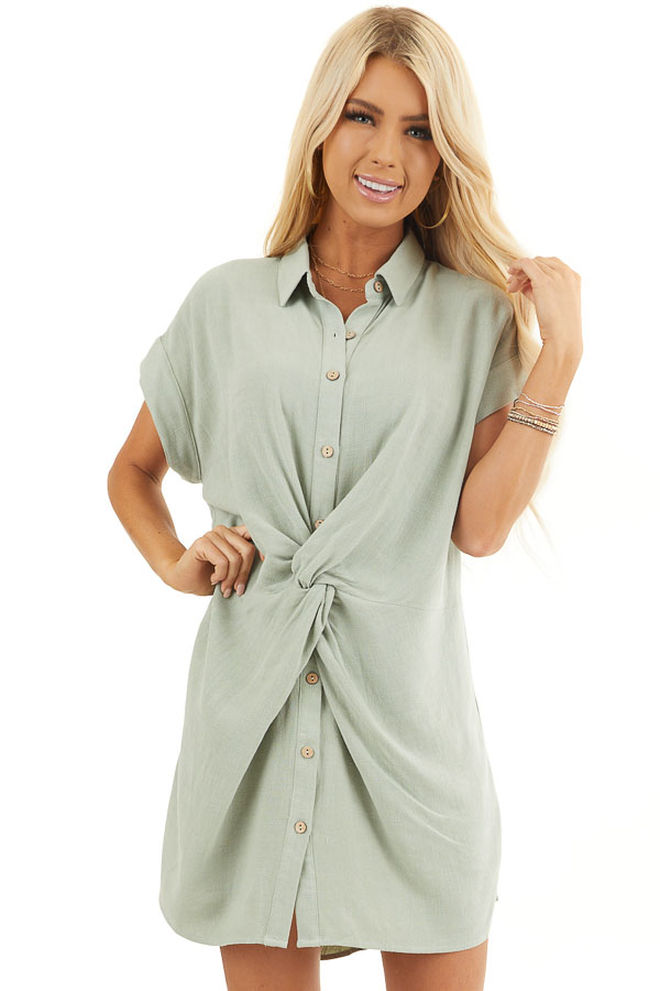 Sage Twisted Waist Button Front Short Dress with Collar front close up
