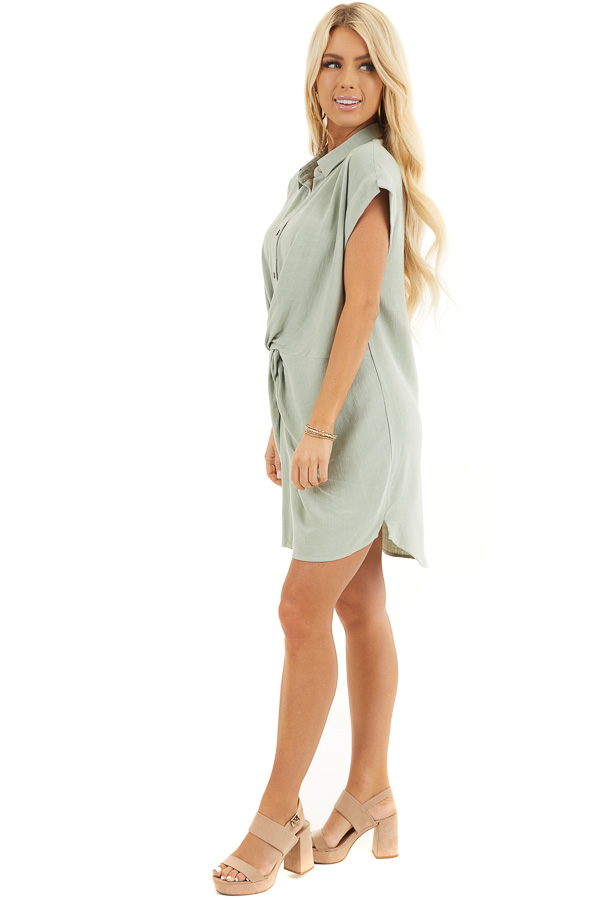 Sage Twisted Waist Button Front Short Dress with Collar side full body