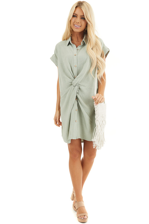Sage Twisted Waist Button Front Short Dress with Collar front full body