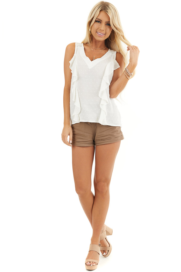 Off White V Neck Swiss Dot Tank Top with Ruffle Details front full body