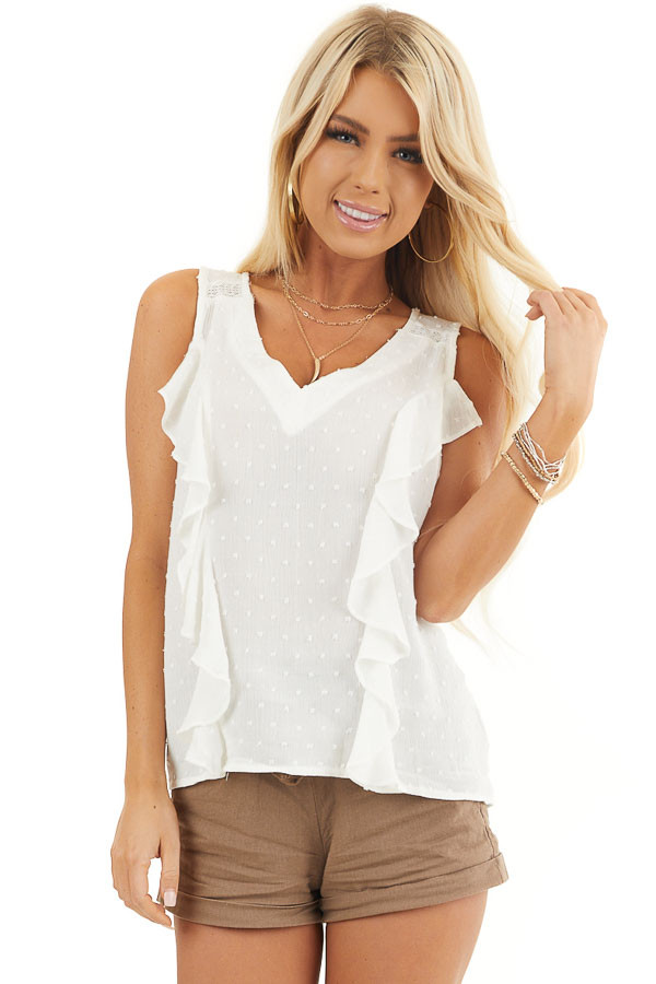 Off White V Neck Swiss Dot Tank Top with Ruffle Details front close up
