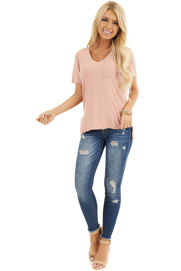 Salmon V Neck Short Sleeve Ribbed Top With Pocket Detail front full body