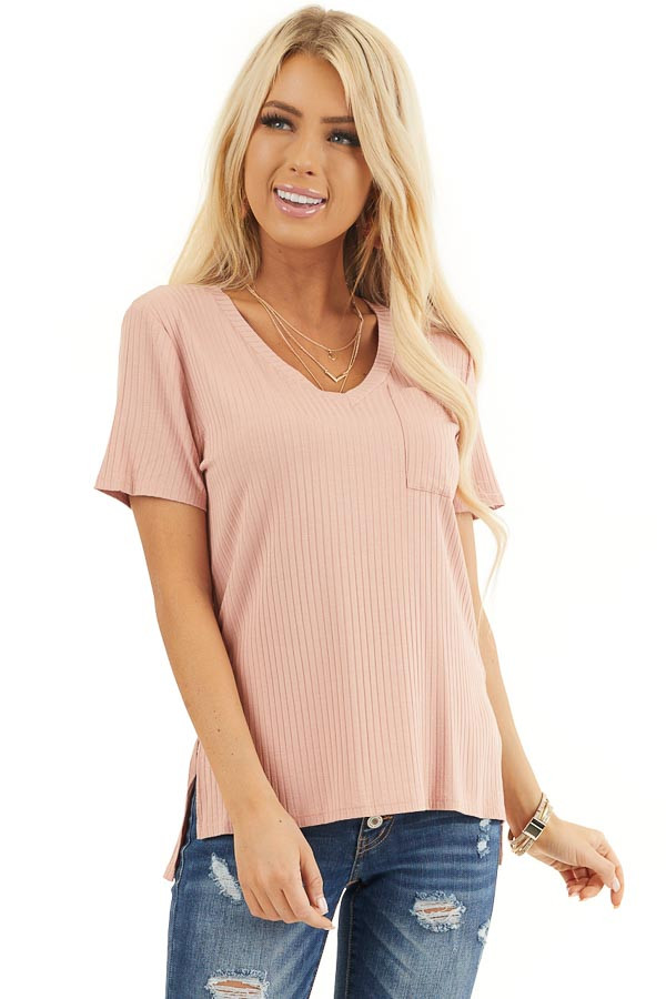 Salmon V Neck Short Sleeve Ribbed Top With Pocket Detail front close up