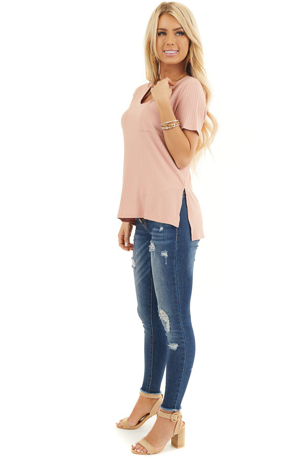 Salmon V Neck Short Sleeve Ribbed Top With Pocket Detail side full body