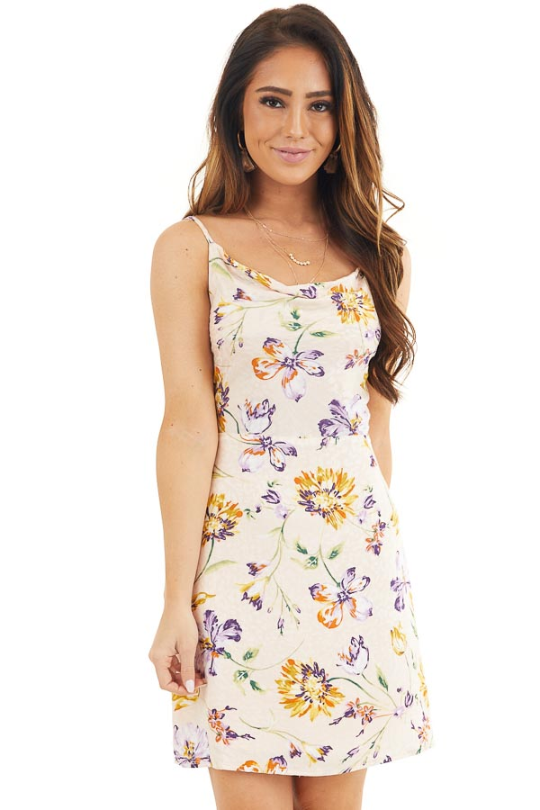 Pale Pink Floral Print Short Tank Dress with Draped Neckline front close up