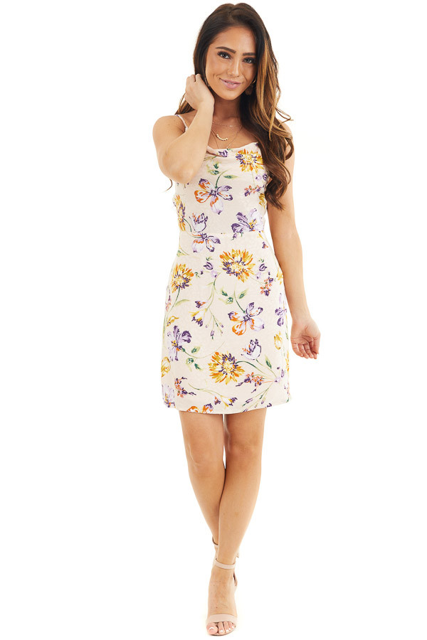 Pale Pink Floral Print Short Tank Dress with Draped Neckline front full body