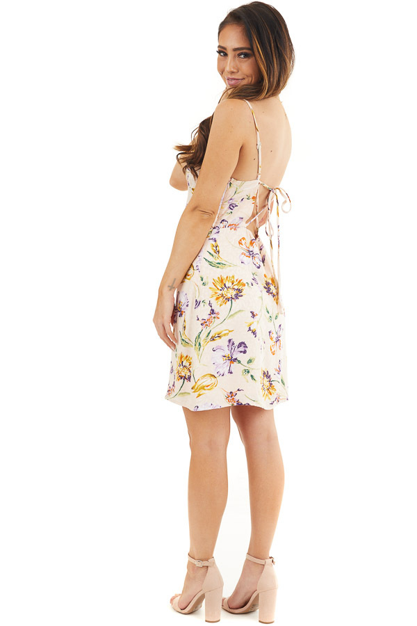 Pale Pink Floral Print Short Tank Dress with Draped Neckline side full body