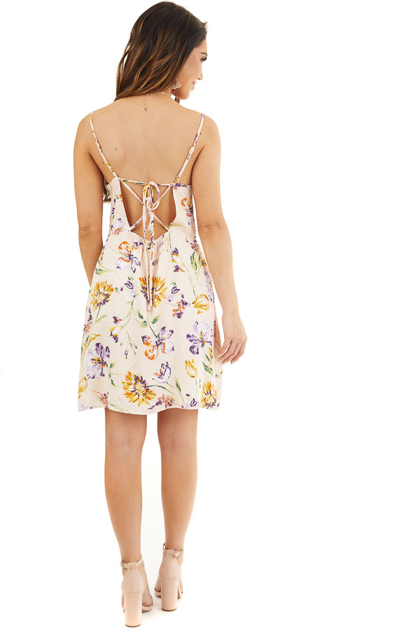 Pale Pink Floral Print Short Tank Dress with Draped Neckline back full body