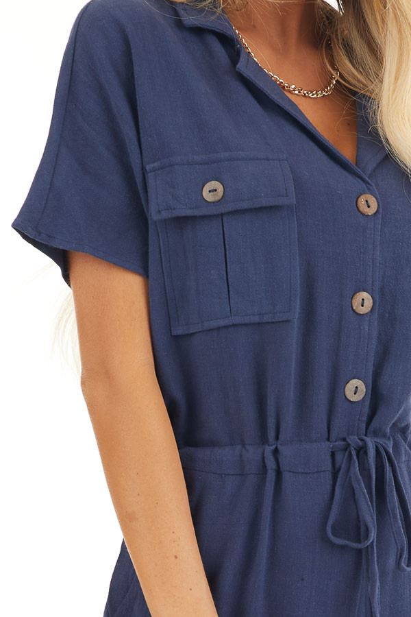 Navy Short Sleeve Jumpsuit with Button Down Front Detail detail