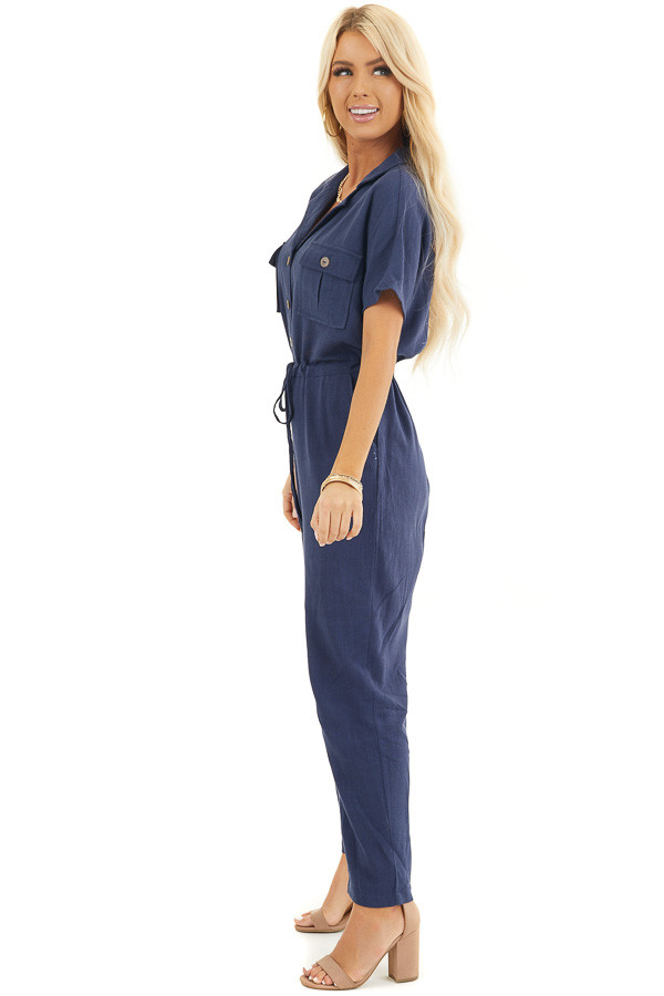 Navy Short Sleeve Jumpsuit with Button Down Front Detail side full body