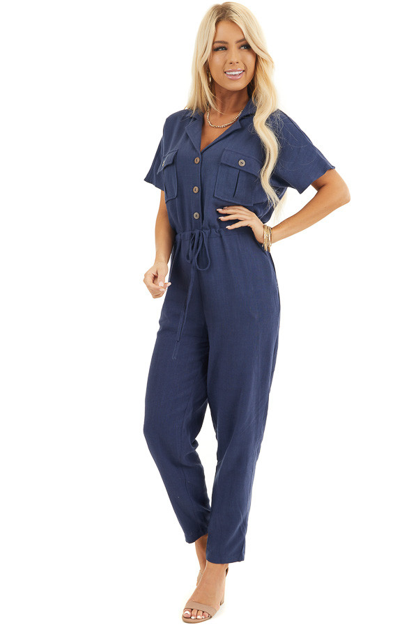Navy Short Sleeve Jumpsuit with Button Down Front Detail front full body