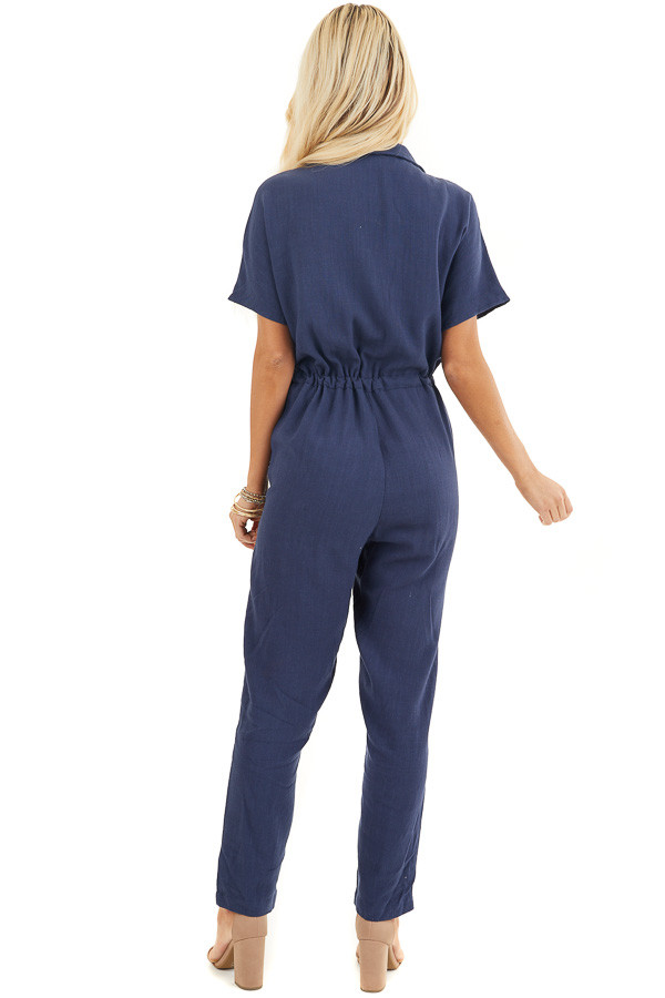 Navy Short Sleeve Jumpsuit with Button Down Front Detail back full body