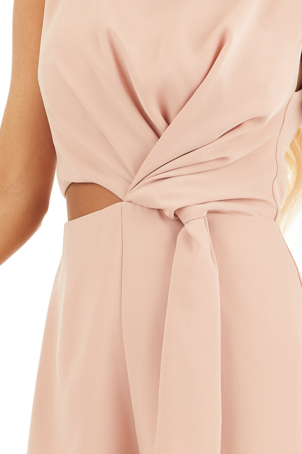 Peach Sleeveless Romper with Cutout Detail and Tie Accent detail