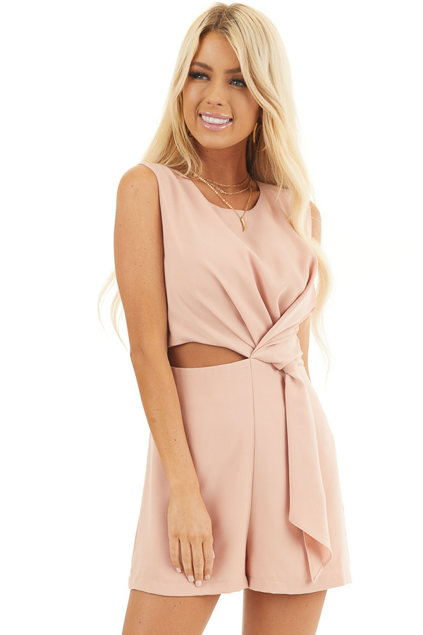 Peach Sleeveless Romper with Cutout Detail and Tie Accent front close up