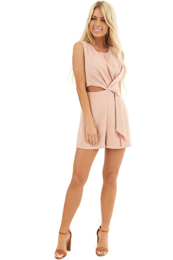 Peach Sleeveless Romper with Cutout Detail and Tie Accent front full body
