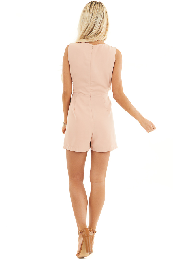 Peach Sleeveless Romper with Cutout Detail and Tie Accent back full body