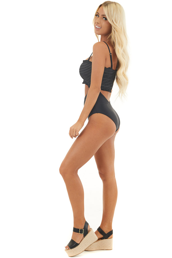 Black One Piece Swimsuit with Smocking and Cutout Details side full body