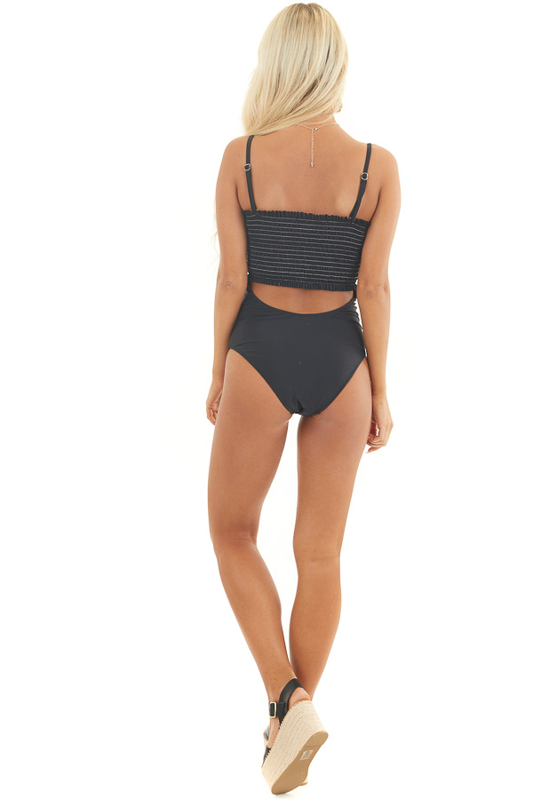 Black One Piece Swimsuit with Smocking and Cutout Details back full body