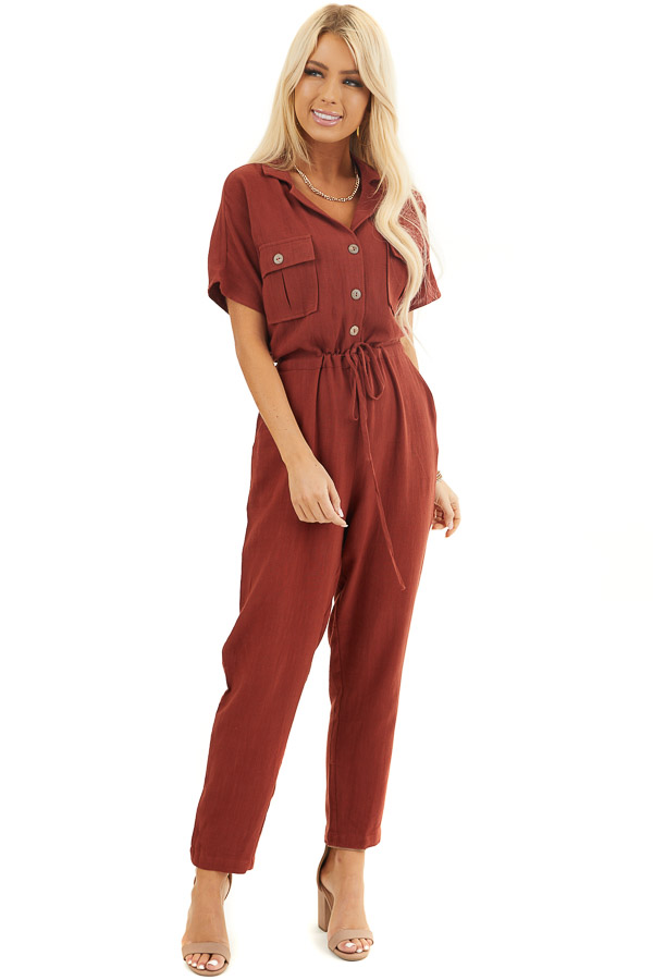 Dark Rust Short Sleeve Button Up Jumpsuit with Pockets front full body