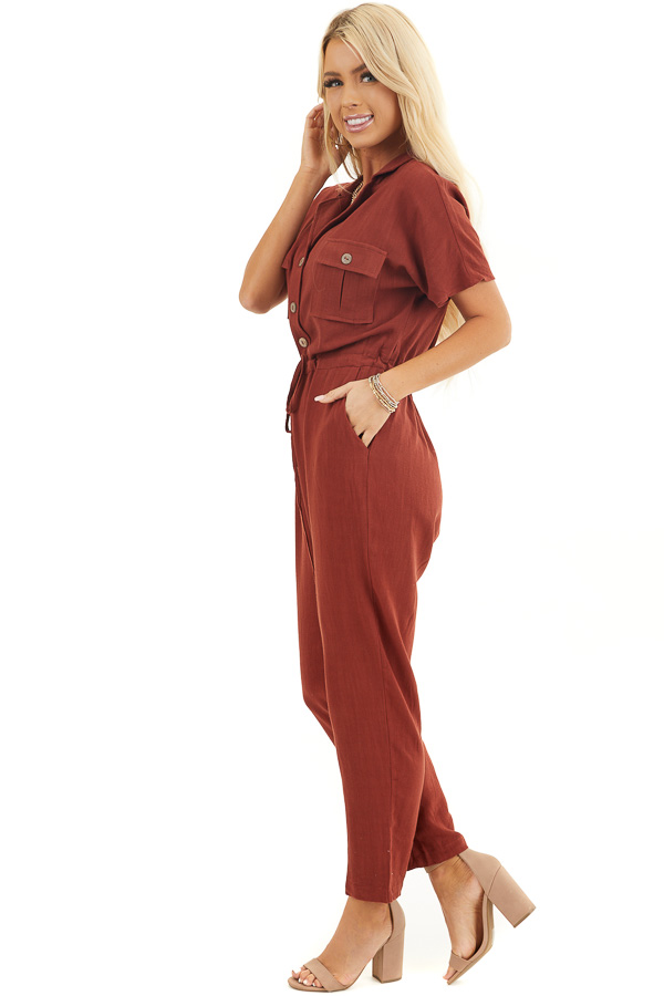 Dark Rust Short Sleeve Button Up Jumpsuit with Pockets side full body