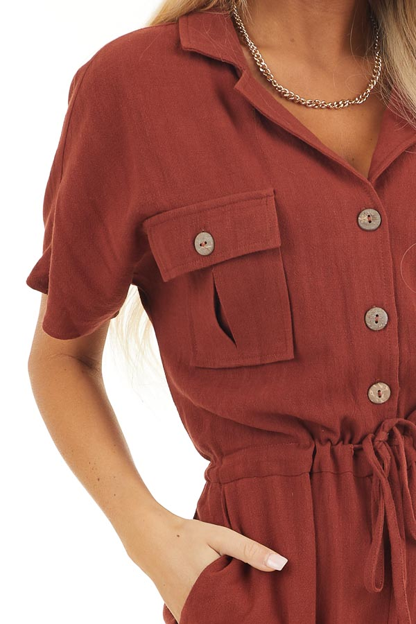 Dark Rust Short Sleeve Button Up Jumpsuit with Pockets detail