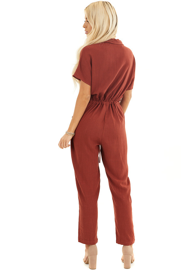 Dark Rust Short Sleeve Button Up Jumpsuit with Pockets back full body